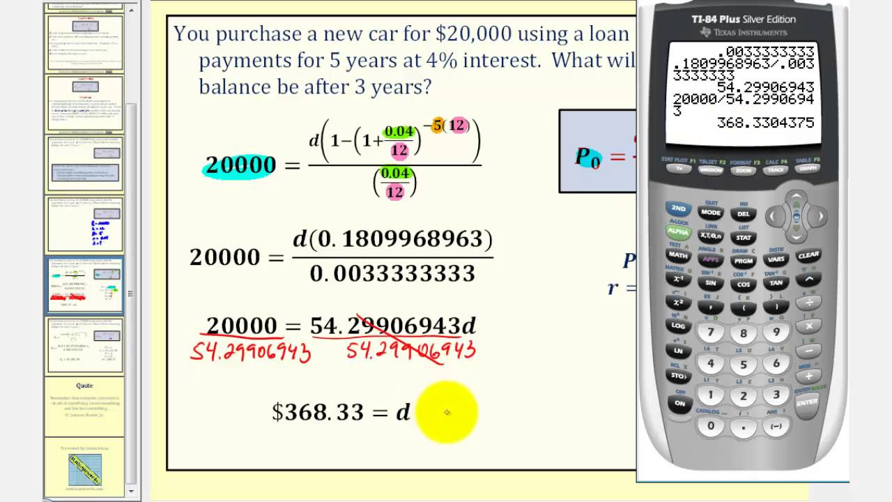 the installment loan formula determining remaining balance youtube