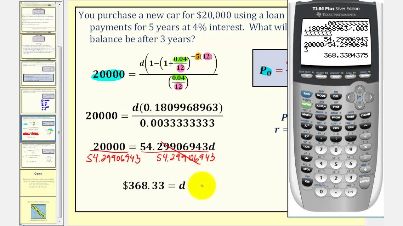The Installment Loan Formula: Determining Remaining Balance - YouTube
