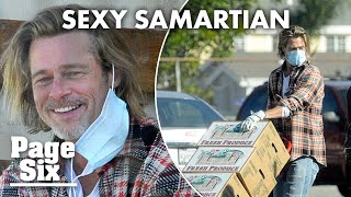 Brad Pitt spends hours delivering meals to LA housing project | Page Six Celebrity News