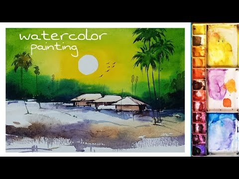 watercolor landscape painting. #watercolor.