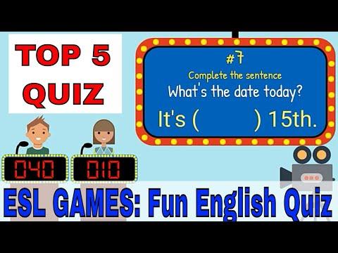 Easy English Quiz   ESL Classroom Games   Top Five Quiz