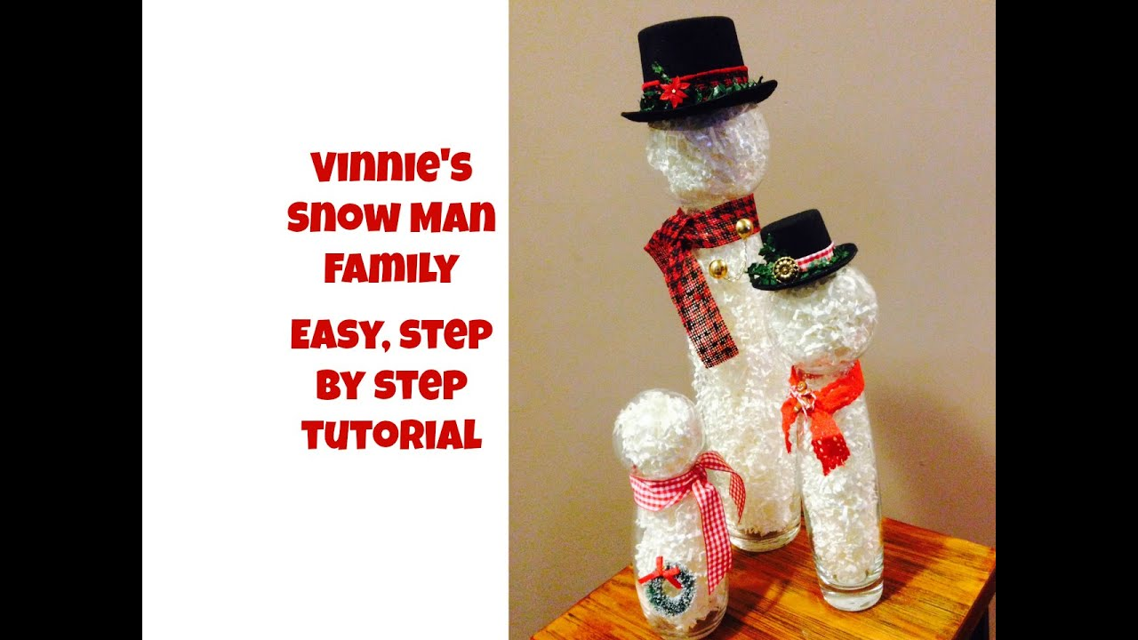 Vinnie S Snowman Family Making Snow Men With Glass Jars Youtube