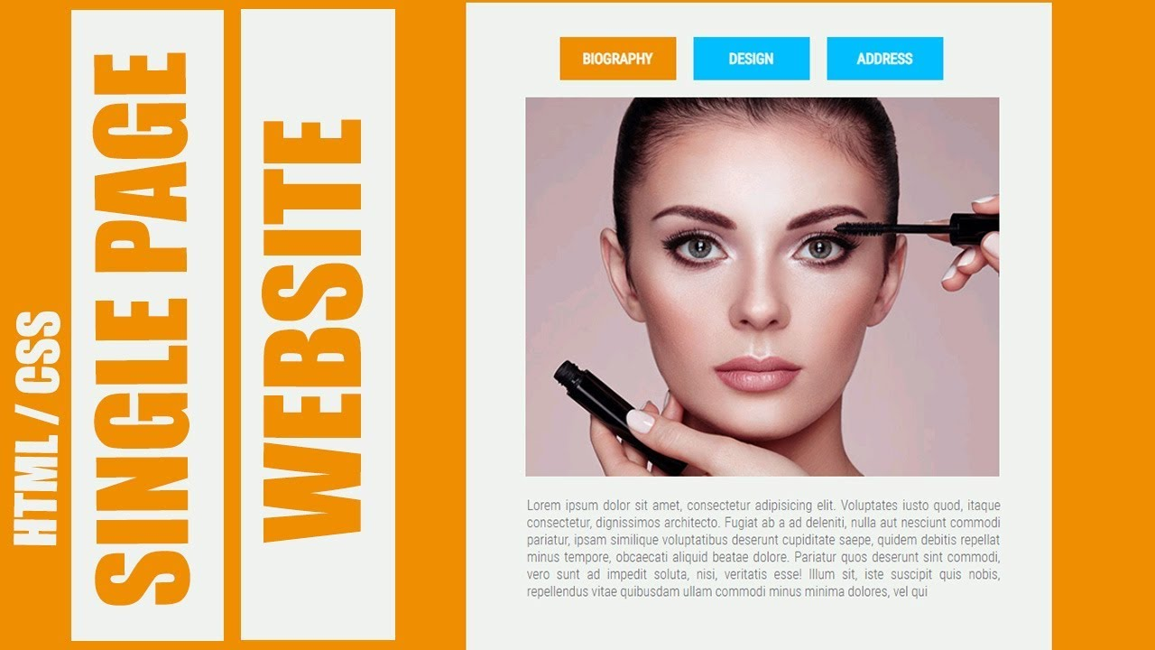 Single Page / One Page Scroll Website Design Using HTML & CSS - YouTube
