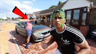 SLIME PRANK ON ANGRY BROTHERS CAR!! (HE WENT CRAZY)