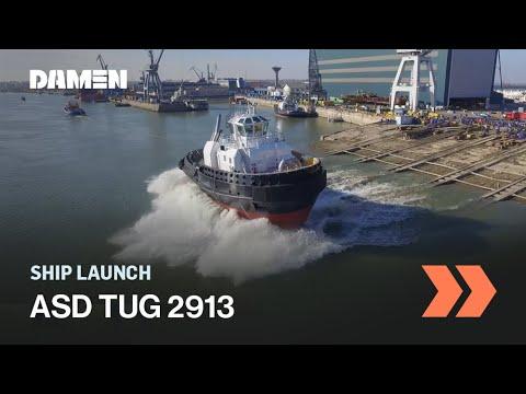ASD 2913 tug launch at Damen Shipyards Galati