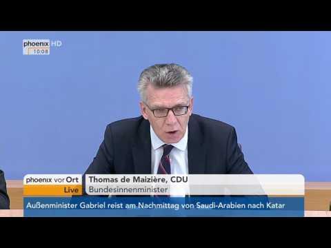 Berlin: Vorstellung des Verfassungsschutzberichts 2016, PK u.a. mit Thomas de Maizière am 04.07.2017