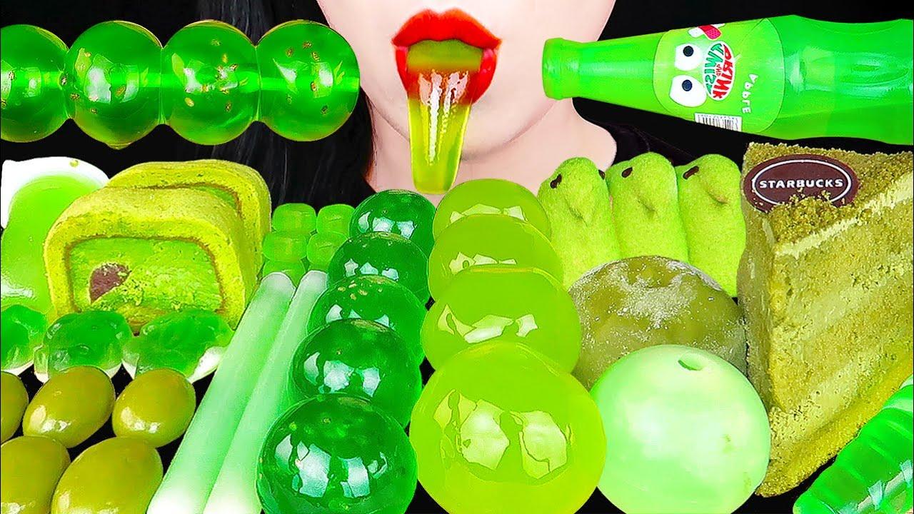 Download ASMR GREEN DESSERTS *Nik-L-Nip WAX STICK, KYOHO JELLY, GREEN TEA CAKE COLOR FOOD EATING SOUNDS 먹방