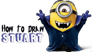How to Draw Minions: Stuart as the Vampire Minion from Minions and Despicable Me