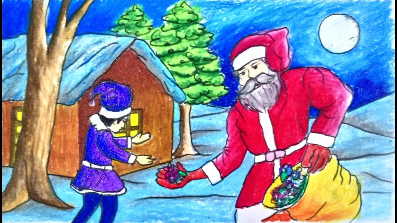 How To Draw Christmas Scenery With Santa Claus Step By Step Very