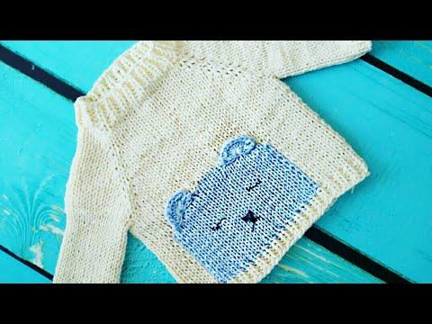 Детский свитер спицами 🐻 с мишкой. Подробный мастер класс