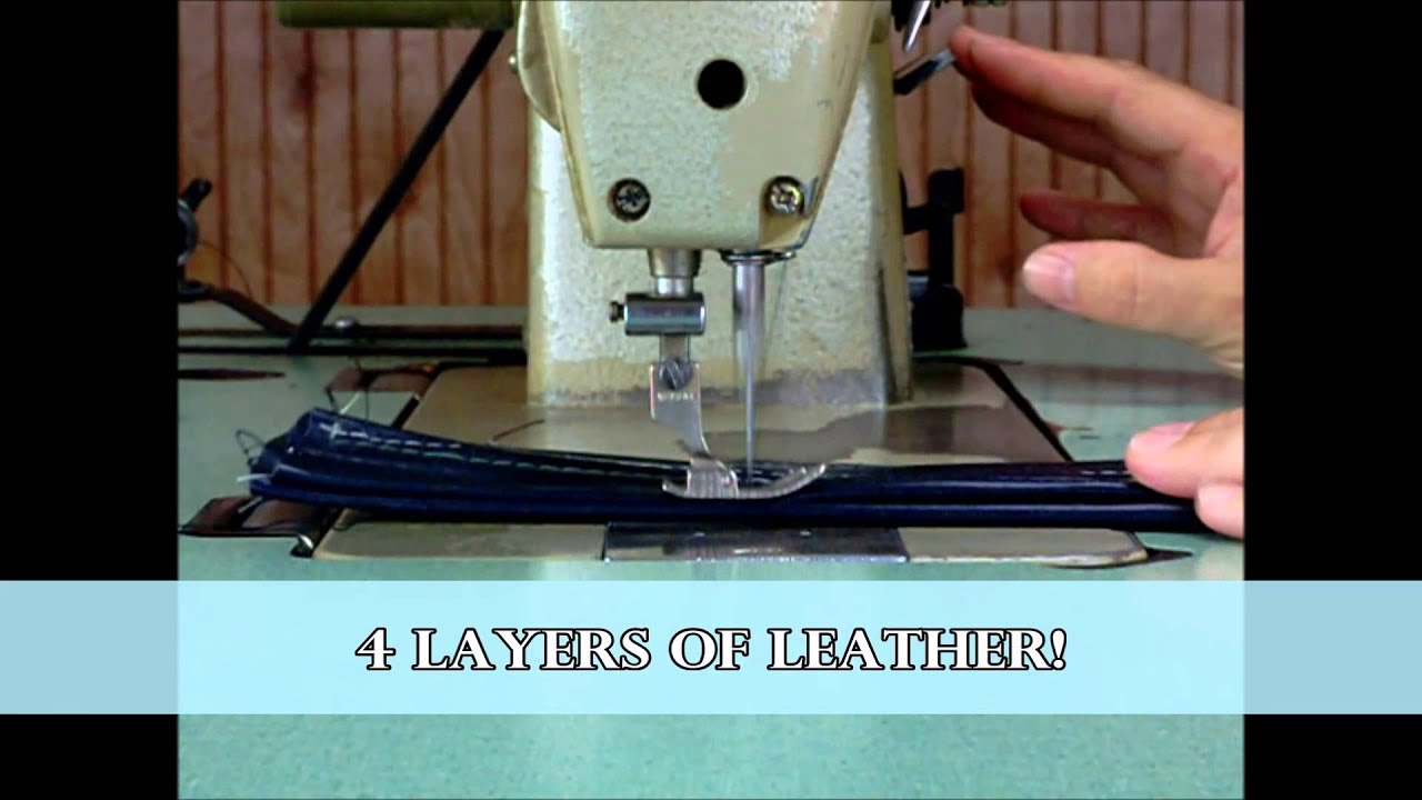 Mitsubishi DB 189 Industrial Sewing Machine with Table Leather, Upholstery, Webbing - YouTube