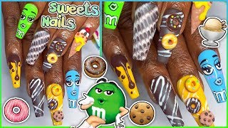 🍦🍫HOW TO: M&Ms IceCream Donut Cookie Press-On Nails 🍩🍪 3D Sculpture Gel