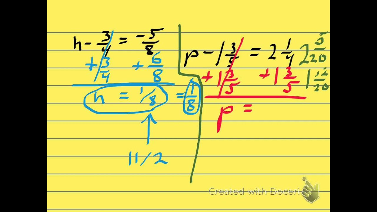 Pre Algebra Lesson 5 7 Solving Equations By Adding Subtracting Fractions Amp Mixed Numbers