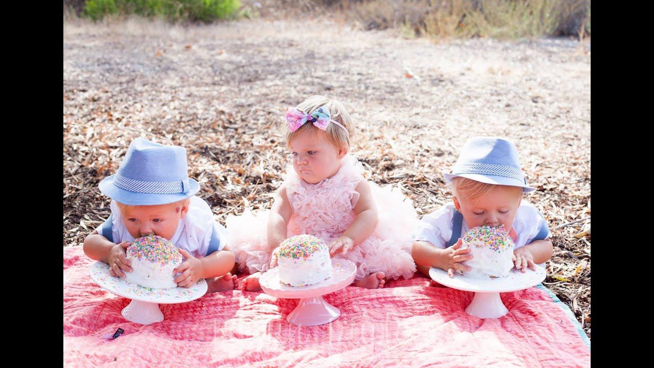 The Triplets 1st Birthday Cake Smash Youtube