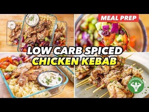 Mediterranean Meal Prep Low Carb Spicy Chicken Kebab Lunchbox
