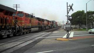 Amtrak, BNSF, and Metrolink Trains in Santa Fe Springs, CA on 11/28/12