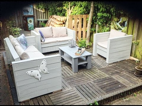 Diy patio furniture with pallets youtube Diy outdoor furniture