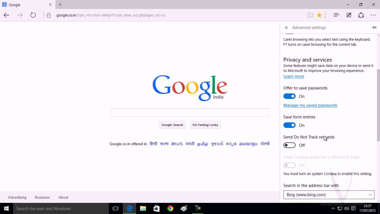 My default search engine in edge browser in windows 10 youtube