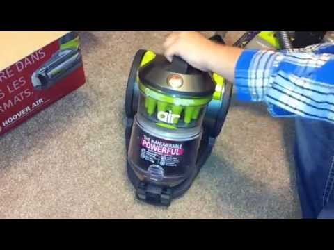 Hoover air bagless canister unboxing and test run