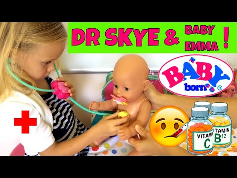 Thumbnail: Baby Born Emma Has a Fever and Goes to See Doctor Skye 🤒🚑😊