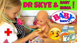 Baby Born Emma Has a Fever and Goes to See Doctor Skye 🤒🚑😊