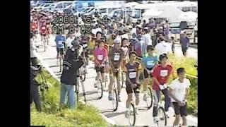 長野県千曲川で行われていた全日本一輪車マラソン大会 フルマラソン男子...