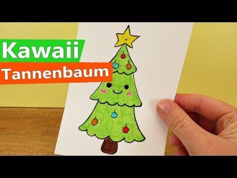 Wie Zeichne Ich Einen Tannenbaum.Kawaii Tannenbaum Malen Deutsch Knuffigen Christbaum Zeichnen