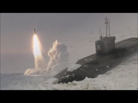 "Russian Nuclear Submarine ""Yuri Dolgoruky"" (K-535) Goes Through The Arctic Ice."