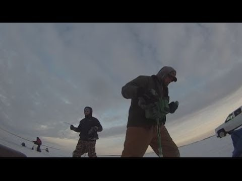 Ice fishing devils lake nd youtube for Devils lake nd ice fishing