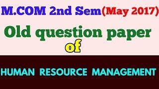 Human Resource Management Question Paper Mba | Asdela