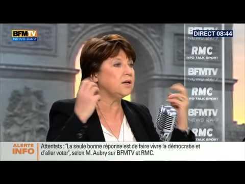 Martine Aubry face à Jean-Jacques Bourdin en direct