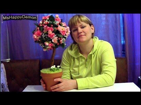 Видео  Дерево Счастья классическое (мастер - класс) ТОПИАРИЙ