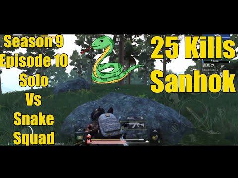 +25 KILLS | SOLO VS SNAKE SQUAD | Sanhok | Pubg Mobile