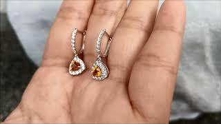 Trillion Cut Dangling Orange Sapphire & Diamond Earrings 18K White Gold from Bangkok, Thailand