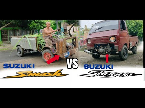 Test  Pickup Mesin Motor Suzuki Shogun Vs Pick Up Mesin Smash Karya Kakek Disabilitas