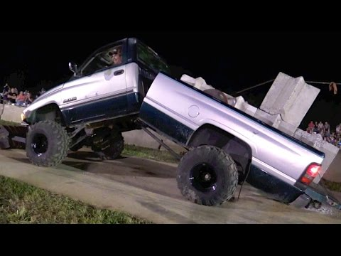 DODGE RAM DIESEL PULL TRUCK BENDS IN HALF