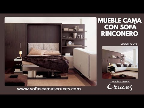 Mueble cama abatible con cama de matrimonio y sof chaise for Camas de matrimonio