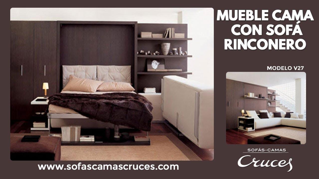 Mueble cama abatible con cama de matrimonio y sof chaise - Mueble sofa cama ...