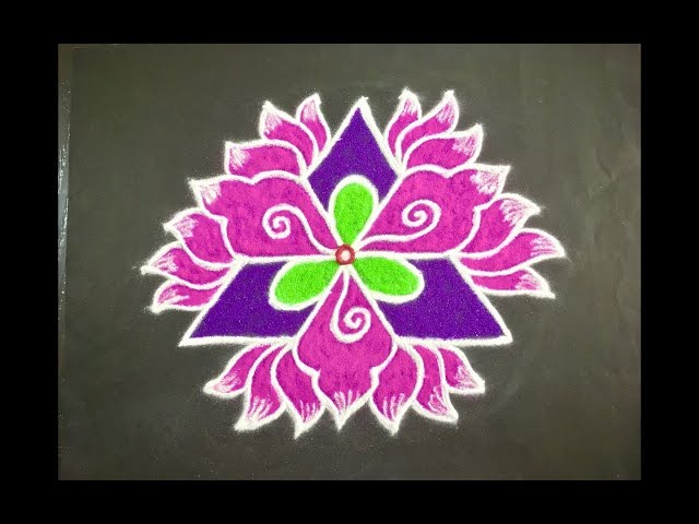 Simple Lotus Flower Rangoli Design with Beautiful Colours & Dots 9x5 for Beginners   Daily Kolam