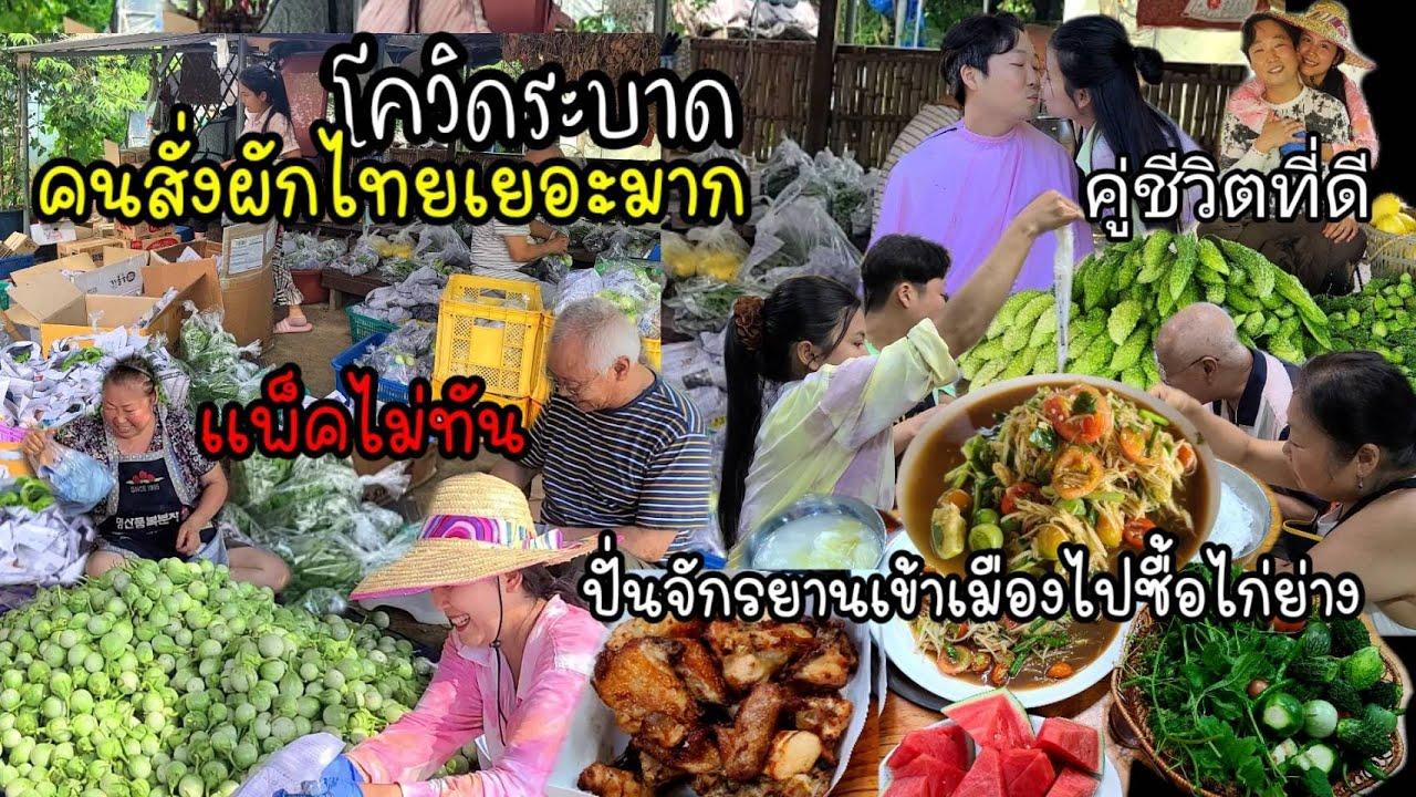 EP.544 โควิดระบาด คนสั่งผักไทยเยอะมาก เเพ็คไม่ทันผักไม่พอ ปั่นจักรยานเข้าเมืองไปซื้อไก่ย่าง