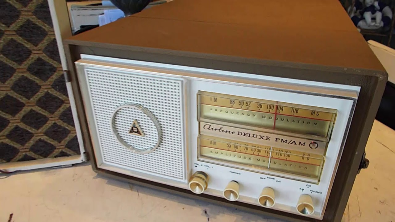 AIRLINE AM-FM=PHONO portable stereo playing AM radio stations