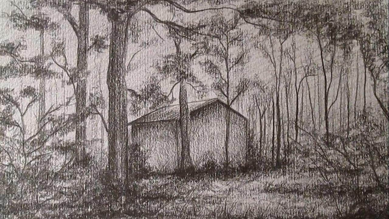Cmo dibujar un sencillo paisaje a lpiz dibujo de una casa en el