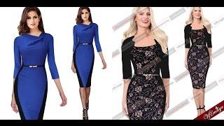 Элегантные, деловые платья, бизнес-платья. Купить в Китае на AliExpress. US $20.99 - 22.99(Информация о товаре: Ссылка на синее платье: http://goo.gl/aEa6rq Ссылка на черное платье: http://goo.gl/2t7UZG Стоимость:..., 2015-11-17T06:54:19.000Z)