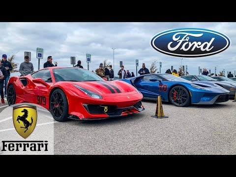 Ford vs Ferrari at Cars and Coffee hosted by COTA