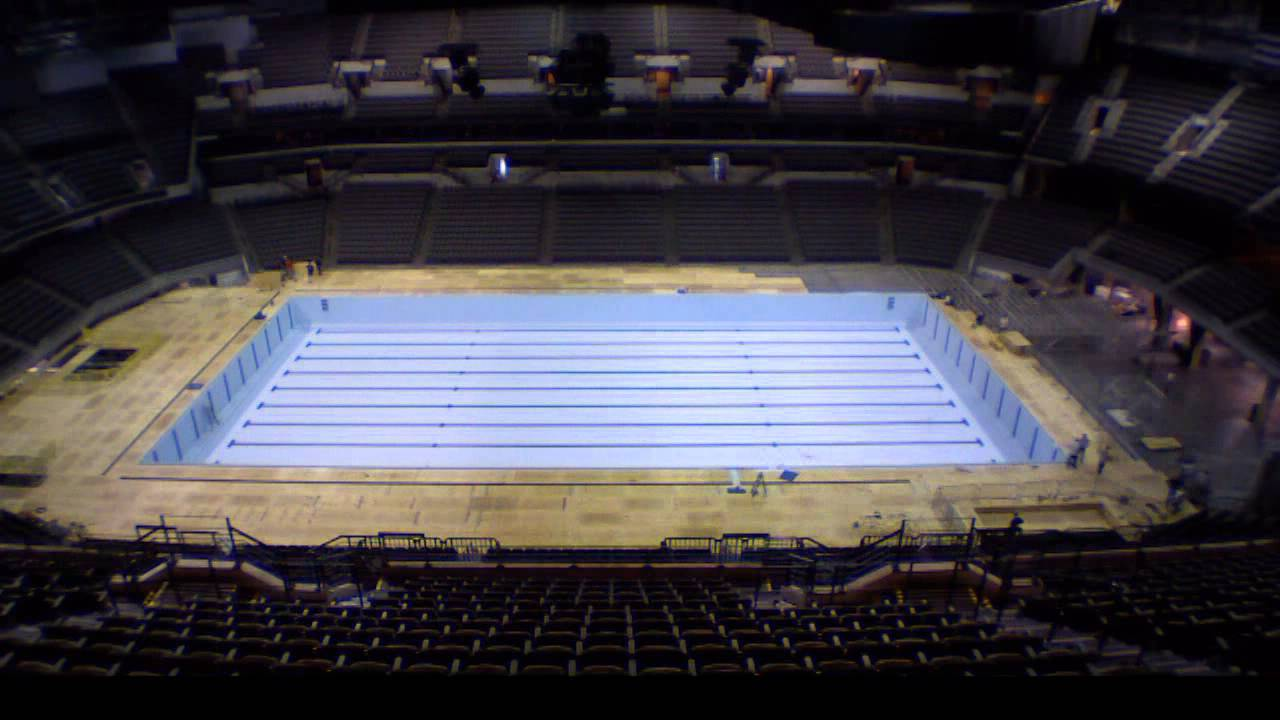 2012 olympic team trials swimming pool construction youtube - Olympic Swimming Pool Top View
