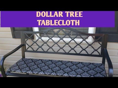 OUTDOOR DECOR SERIES/DIY/BENCH CUSHION USING DOLLAR TREE TABLECLOTH/UNDER $10/APRIL/2019