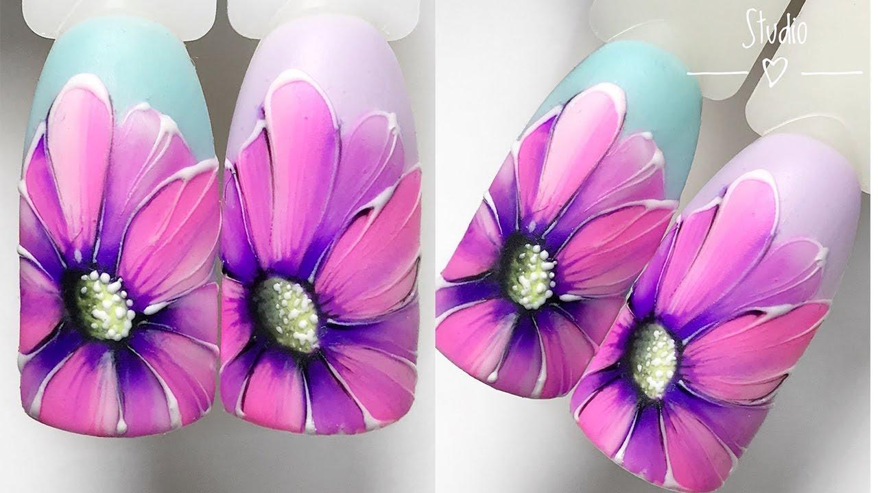 Ногти дизайн цветы фото 2018