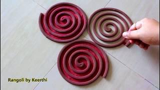 Simple navratri rangoli designs using coil l Diwali rangoli design with 2 colours l नवरात्री रांगोळी