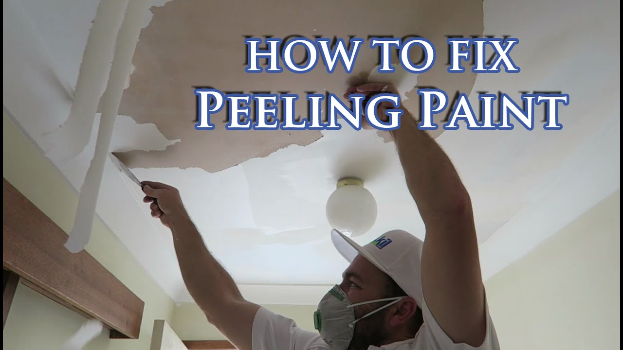 Fix flaking paint on plasterboard ceiling - YouTube