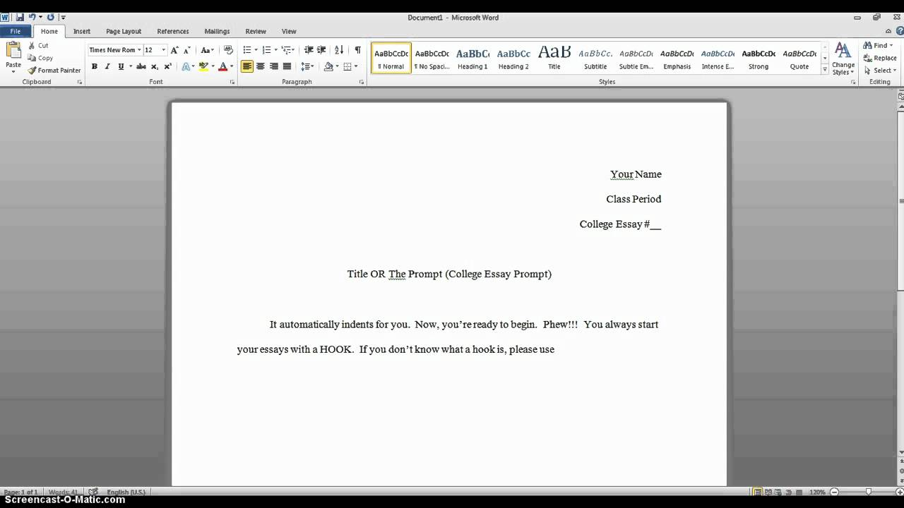Proper heading for a college essay